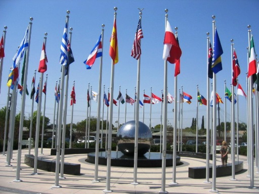 Chapman University Orange CA Global Donor Citizens Plaza Flags