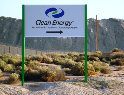 Roadside Pole Sign for Clean Energy Fuels Boron CA