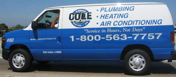 Cole Plumbing Heating and Air Conditioning Services Fleet Vehicle Graphics