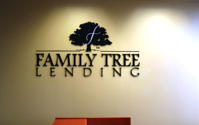 Family Tree Lending Lobby Sign Anaheim CA
